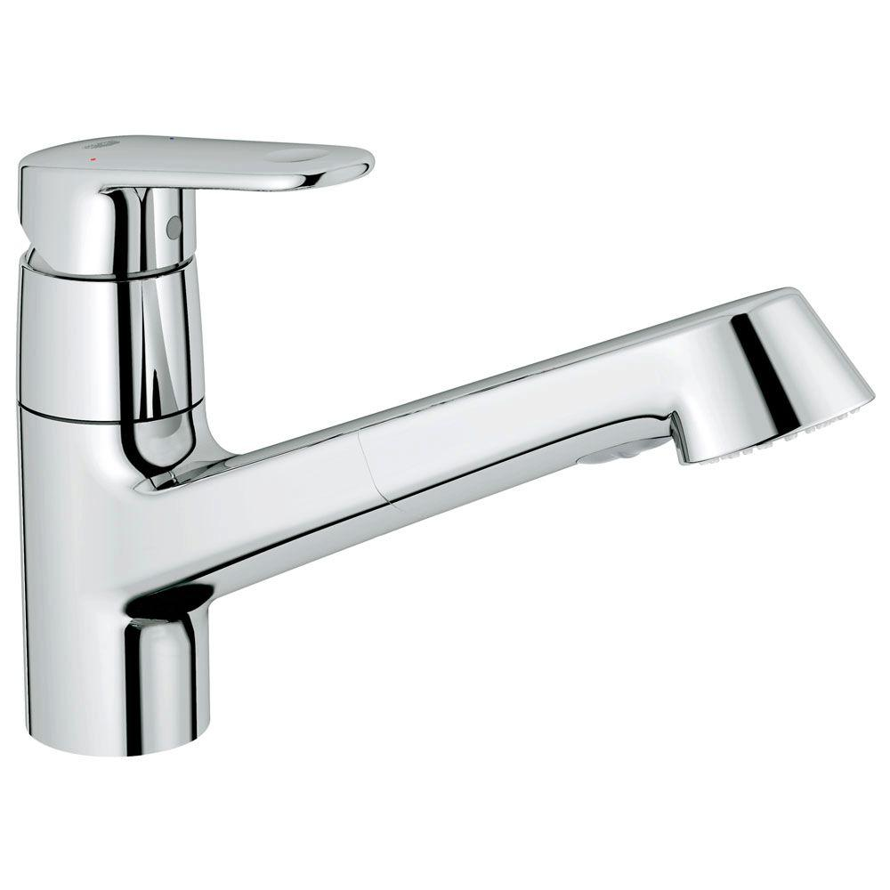 GROHE Europlus New Single-Handle Pull-Out Sprayer Kitchen Faucet in Starlight Chrome