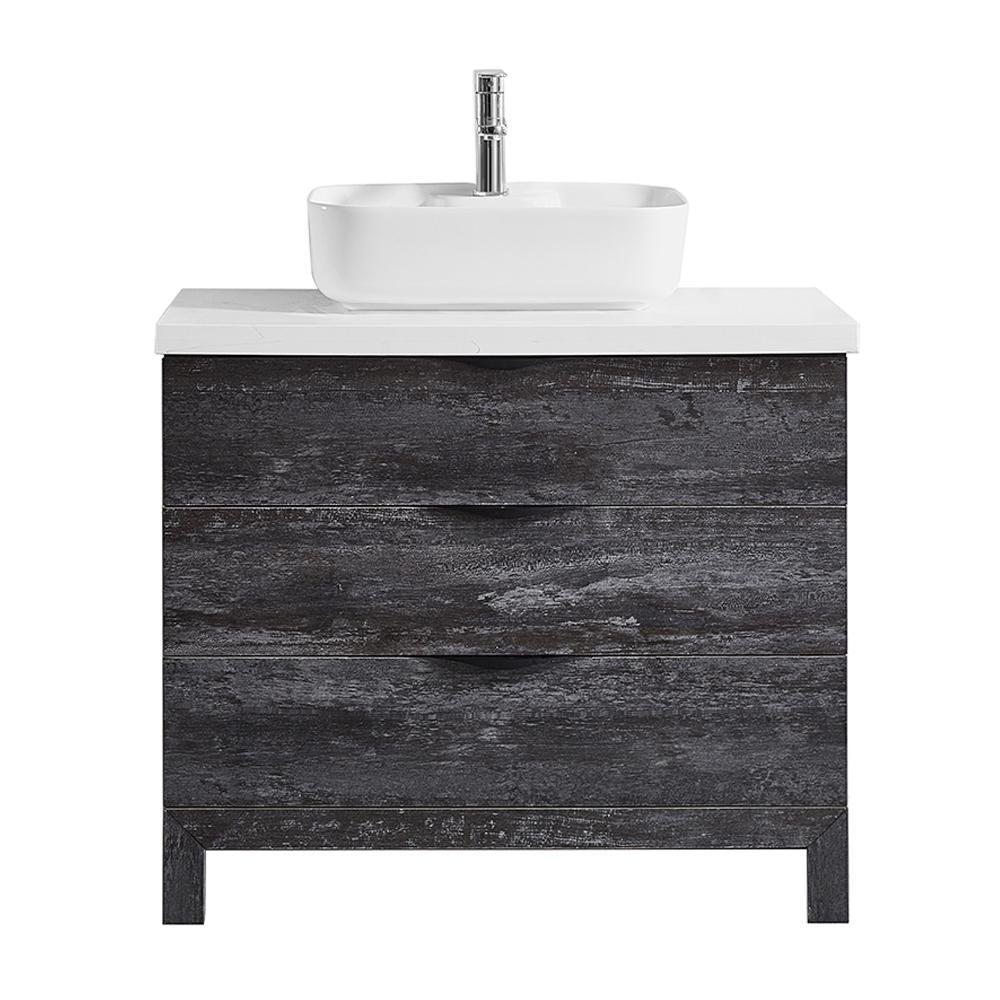 Spencer 36 in. W x 20 in. D Bath Vanity in Grey with Quartz Vanity Top in White with White Basin