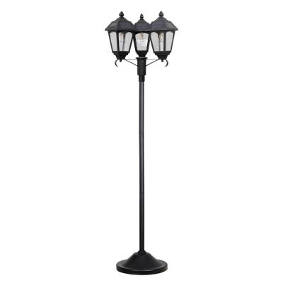 Westinghouse Triple Head Black LED Outdoor Garden Solar Post Lamp