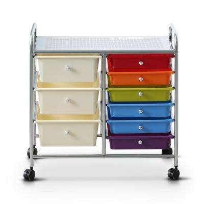 Wayar 6-Shelf Plastic 4-Wheeled 9-Drawer Trolley in Rainbow