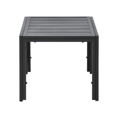 Black Steel Outdoor End Table with Slat Top