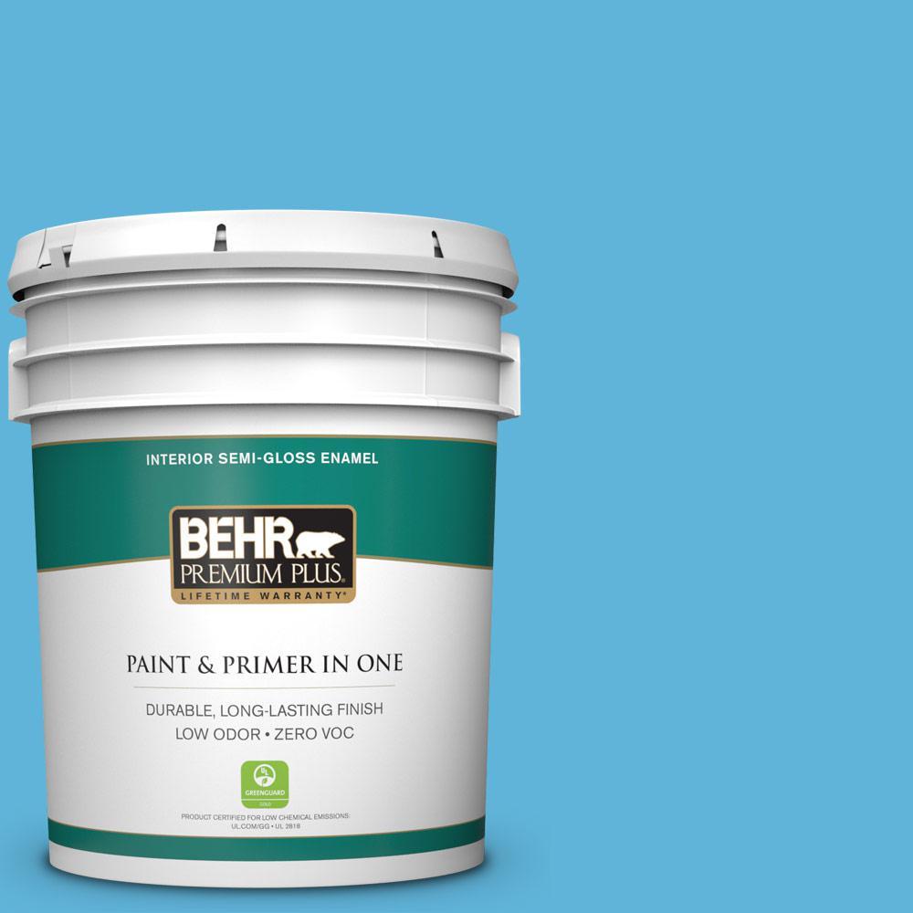5-gal. #540B-5 Riviera Blue Zero VOC Semi-Gloss Enamel Interior Paint