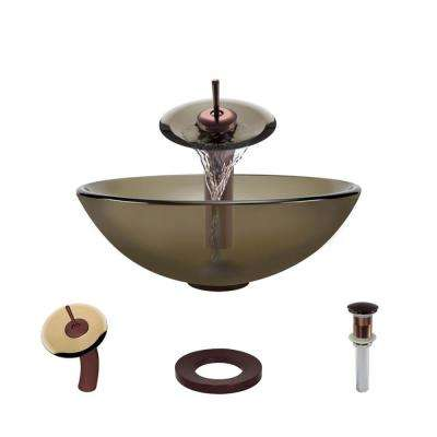 Glass Vessel Sink in Cashmere with Waterfall Faucet and Pop-Up Drain in Oil Rubbed Bronze
