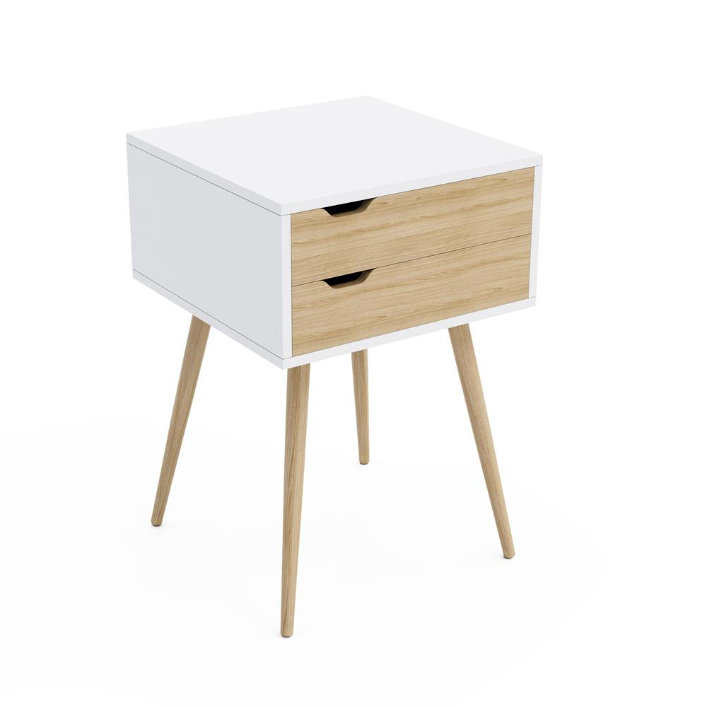 Blythe White 2 Drawer Pocket Side Table With Natural Wood Finish