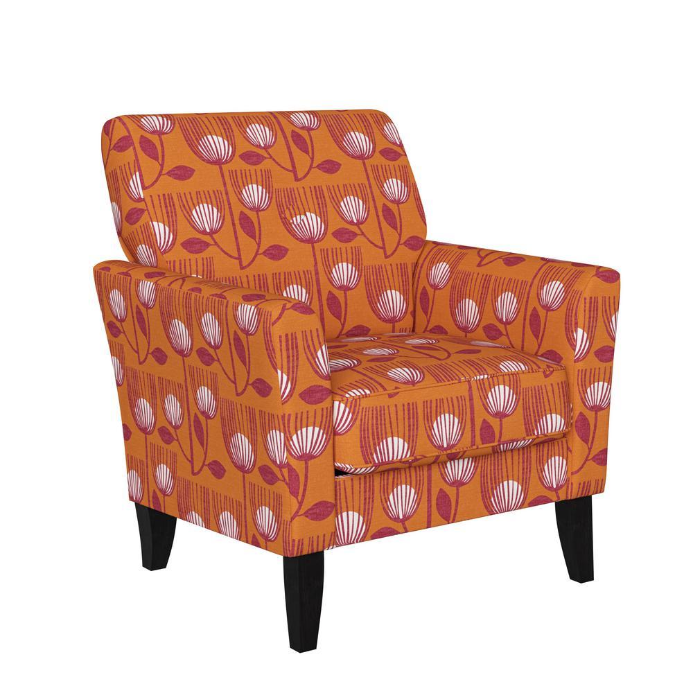 Travix Flared Arm Chair in Orange Modern Tulip