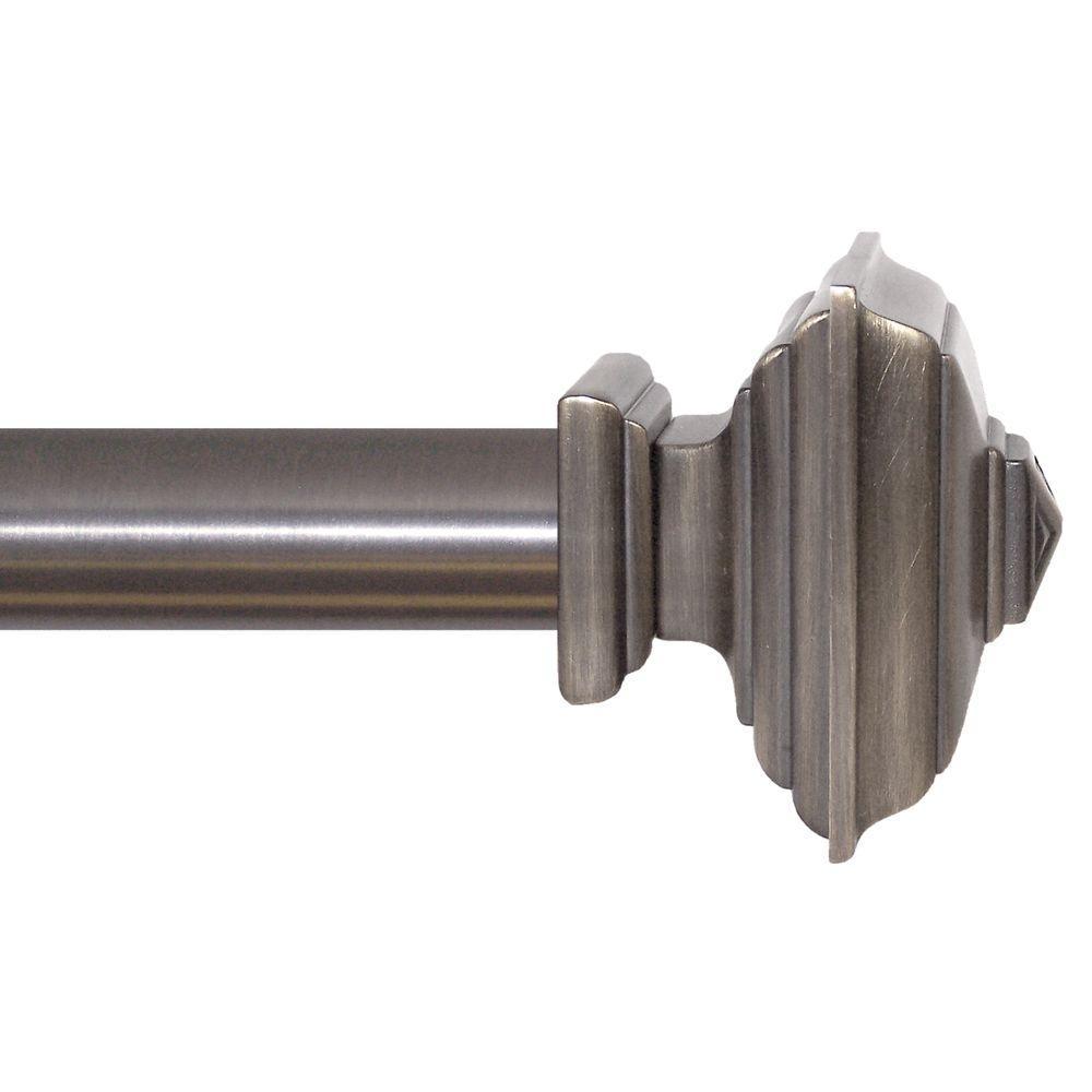 51 in. - 96 in. Platinum Square Architectural Metal Drapery Rod Set