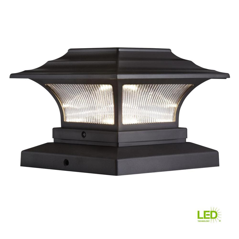 "Patio Deck Post Lights: 2-PACK SOLAR LED DECK POST CAP LIGHT 4""x4"" Bronze Outdoor"