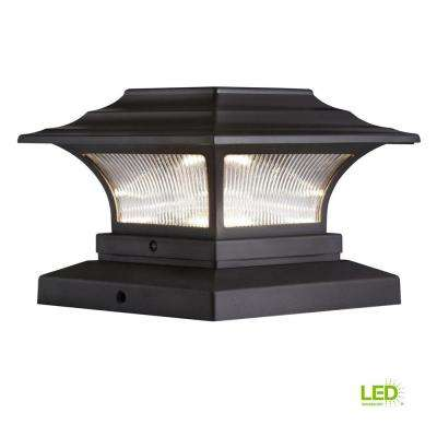 Solar 4 in. x 4 in. Bronze Outdoor Integrated LED Deck Post Light with 6 in. x 6 in. Adapter (2-Pack)
