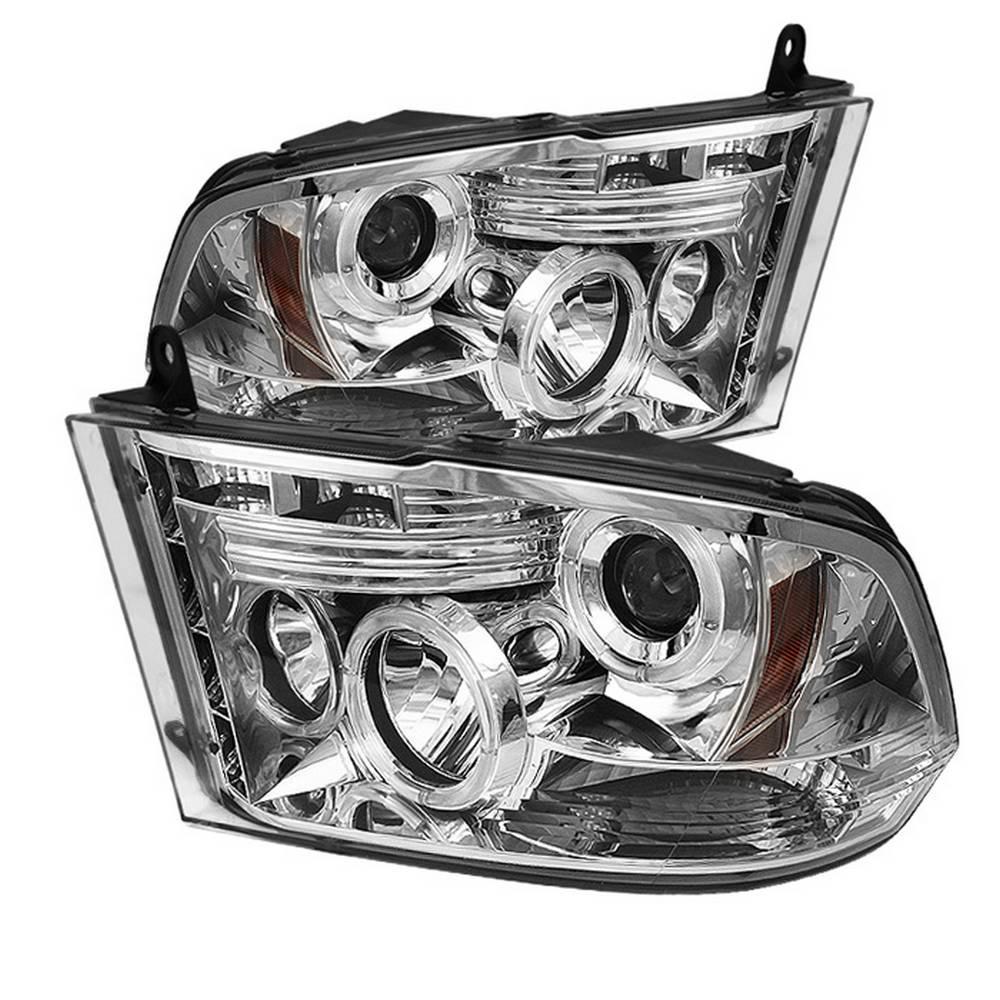 Dodge Ram 1500 09-16 / Ram 2500/3500 10-16 Projector Headlights - Halogen Model Only - LED Halo - Chrome -