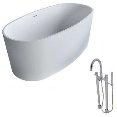 Roccia 61.4 in. Man-Made Stone Classic Flatbottom Non-Whirlpool Bathtub in Matte White and Sol Faucet in Chrome