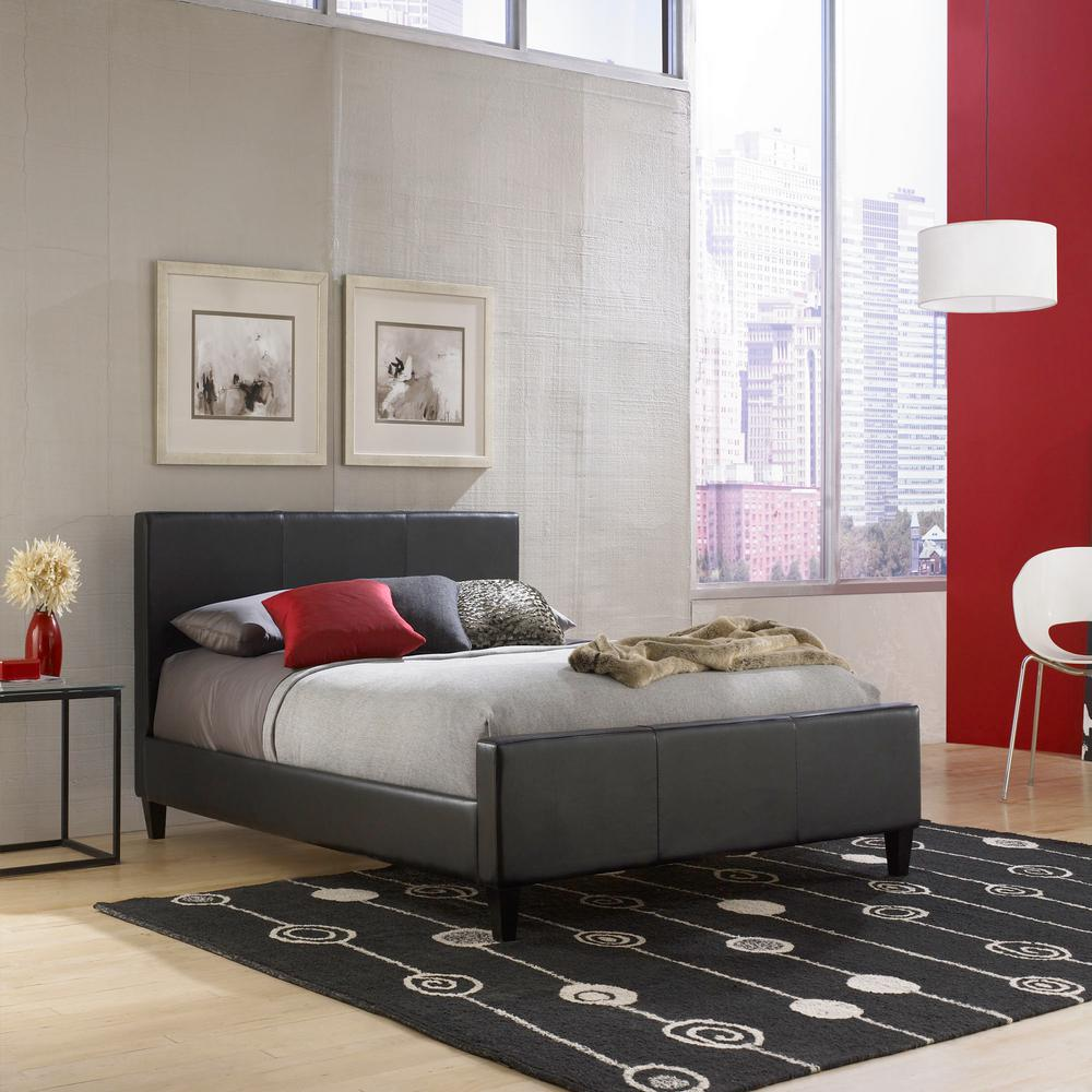 Euro Black Full-Size Platform Bed with Side Rails and Soft Upholstered
