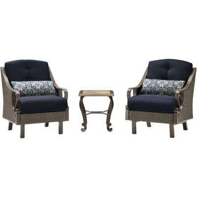 Ventura 3-Piece All-Weather Wicker Patio Chat Set with Navy Blue Cushions