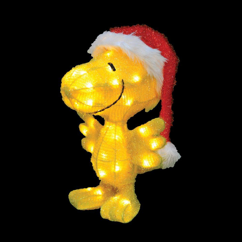 peanuts 18 in led woodstock in santa hat - Peanuts Christmas Lawn Decorations
