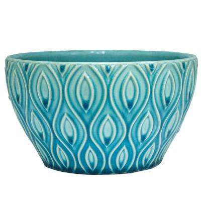 8 in. Aqua Featherlinx Ceramic Planter