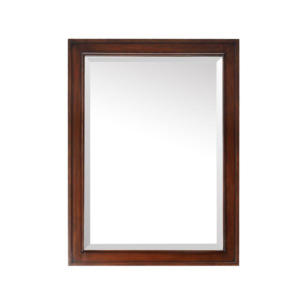 Brentwood 32 in. L x 24 in. W Single Wall Mirror in Walnut