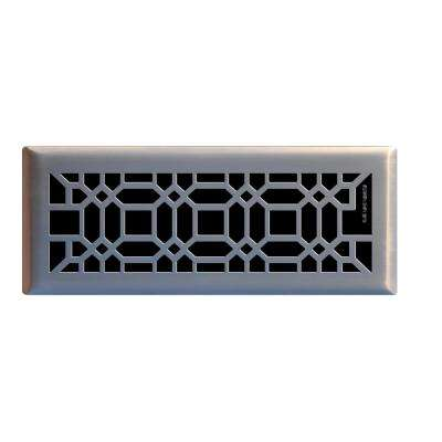 4 in. x 12 in. Oriental Floor Register in Brushed Nickel