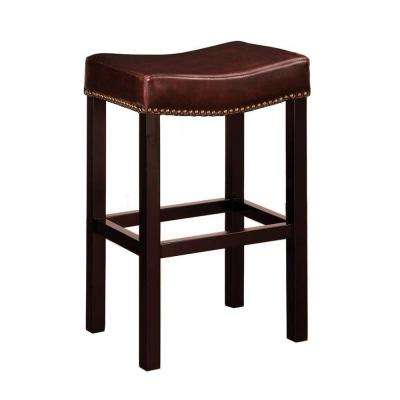 Tudor 30 in. Brown Bonded Leather and Brown Wood with Nailhead Accents Backless Barstool