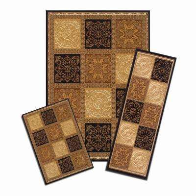 Capri Multicolored Sarouk Squares 5 ft. x 7 ft. 3-Piece Rug Set