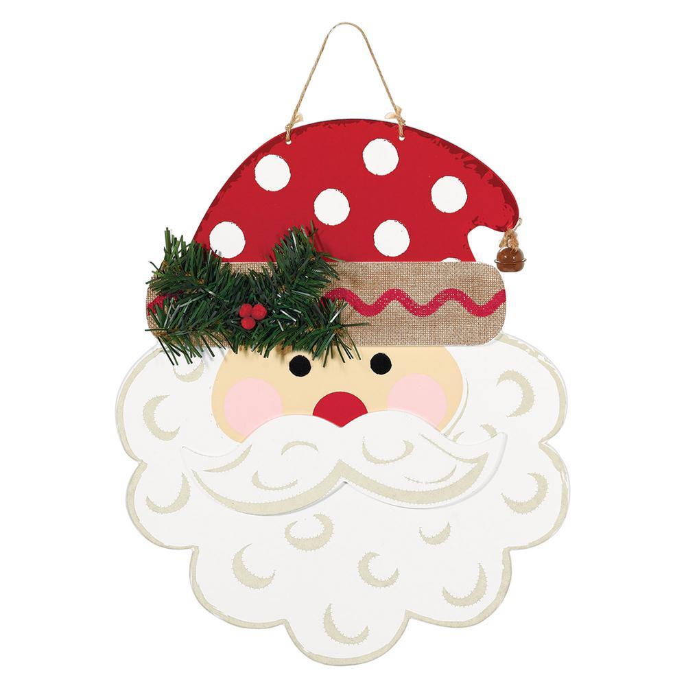 Amscan 13 in. x 11 in. Christmas Polka Dot Santa MDF Sign (2-Pack ...