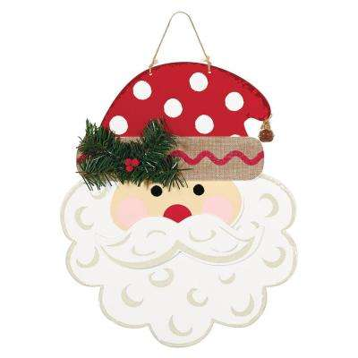 Christmas Polka Dot Santa MDF Sign (2