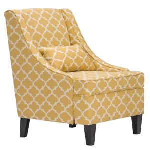 +2. Baxton Studio Lotus Contemporary Yellow Fabric Upholstered Accent Chair