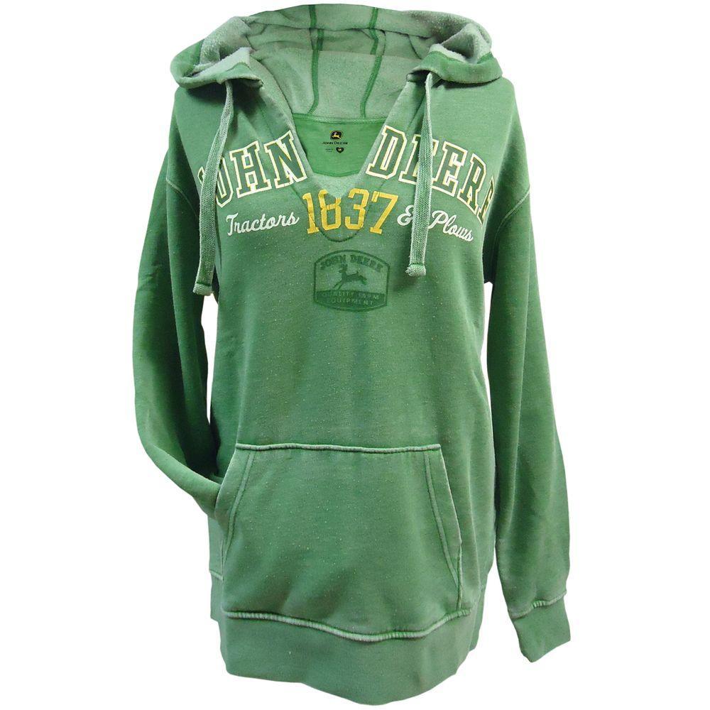John Deere Ladies V-Neck Burnout Hooded Sweatshirt in Green - Medium