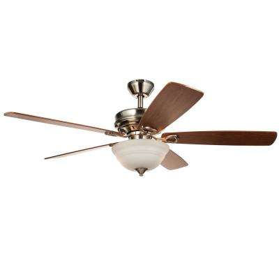Dome 52 in. Indoor Brushed Nickel Semi-Flush Ceiling Fan with Light Kit and Remote Control