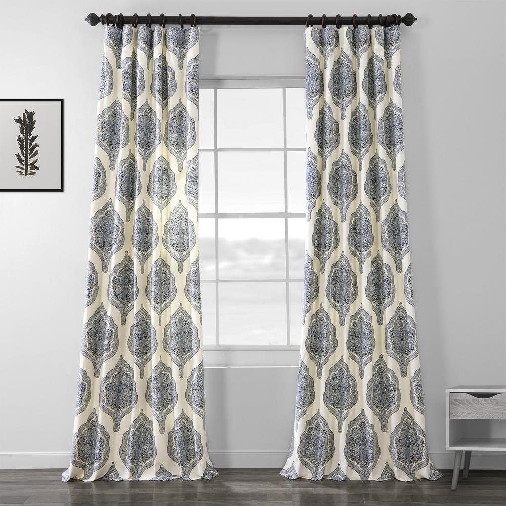 Arabesque Blue Room Darkening Printed Cotton Twill Curtain - 50 in. W x 96 in. L
