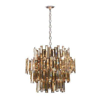 Vienna Collection 15-Light Chrome Chandelier with Crystal Shade