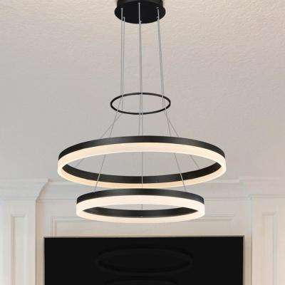 Tania Duo Round 24 in. 65-Watt Black Integrated LED Chandelier