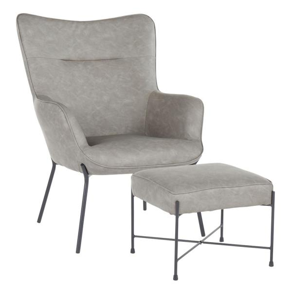 Izzy Black Lounge Chair with Ottoman in Grey Faux Leather