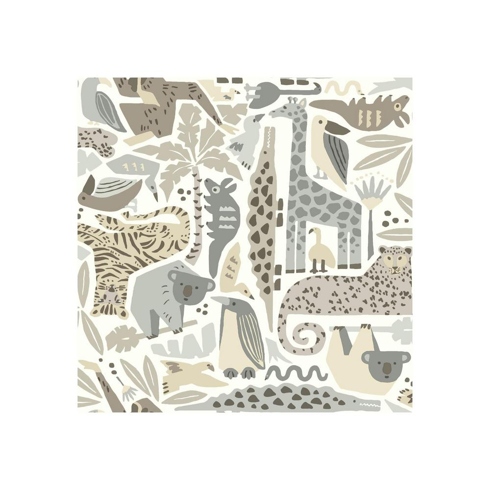 York Wallcoverings DwellStudio Baby And Kids Jungle Puzzle Wallpaper