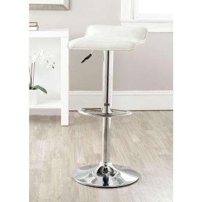 Kemonti Adjustable Height Chrome Swivel Cushioned Bar Stool