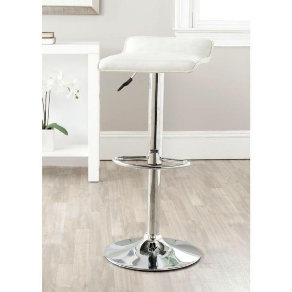 Safavieh Kemonti Adjustable Height Chrome Swivel Cushioned Bar Stool FOX7518A