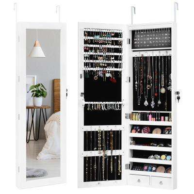 OUTDOOR DOIT 8 LED Lights Lockable Full Mirror Jewelry Organizer Wall Mounted//Door Mounted Jewelry Box for Women//Jewelry Cabinet Jewelry armoire with Mirror//Full Length Mirror Hanging Mirror 6180