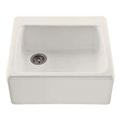 Hatfield Farmhouse Apron-Front Cross Link Acrylic 25 in. Single Bowl Kitchen Sink in Biscuit