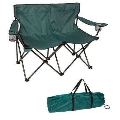 Dark Green 31.5 in. H Loveseat Style Steel Frame Double Camp Chair
