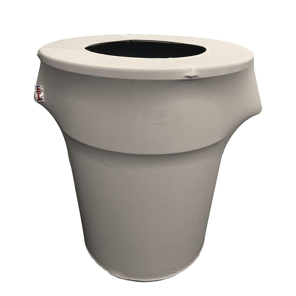 Stretch Spandex Trash Can Cover 55 Gal. Round in Light Grey