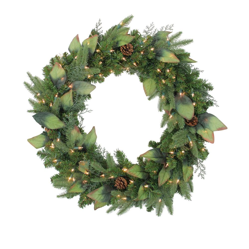 30 in. Pre-Lit Mixed Winter Pine Artificial Christmas Wreath with Clear