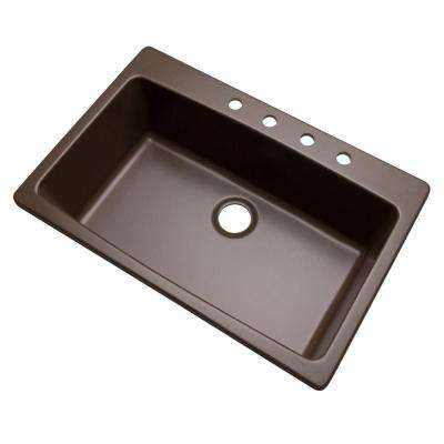 Rockland Dual Mount Composite Granite 33 in. 4-Hole Single Bowl Kitchen Sink in Mocha