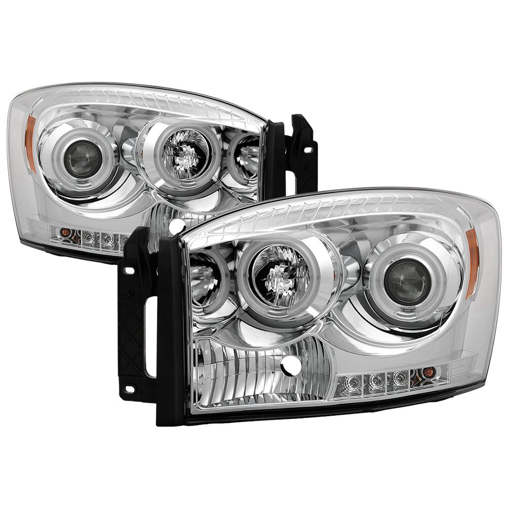 Spyder Auto Dodge Ram 1500 06-08 / Ram 2500/3500 06-09 Projector Headlights  - CCFL Halo - LED ( Replaceable LEDs ) - Chrome
