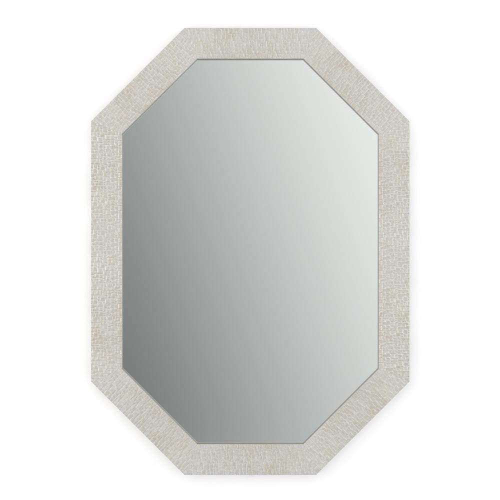 33 in. W x 46 in. H (L3) Framed Octagon Standard Glass Bathroom Vanity Mirror in Stone Mosaic