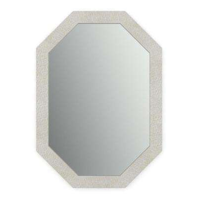 33 in. x 46 in. (L3) Octagonal Framed Mirror with Standard Glass and Easy-Cleat Flush Mount Hardware in Stone Mosaic