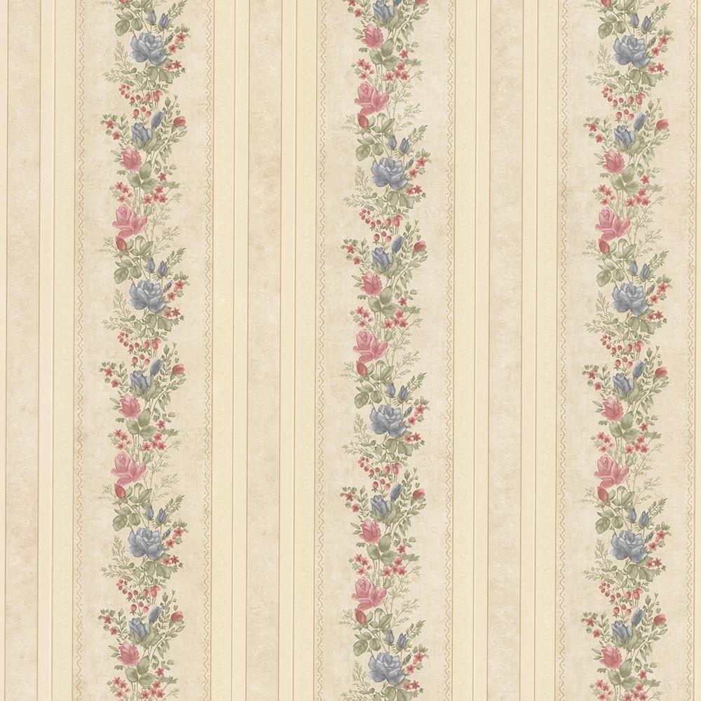 Alexis Beige Satin Floral Stripe Wallpaper