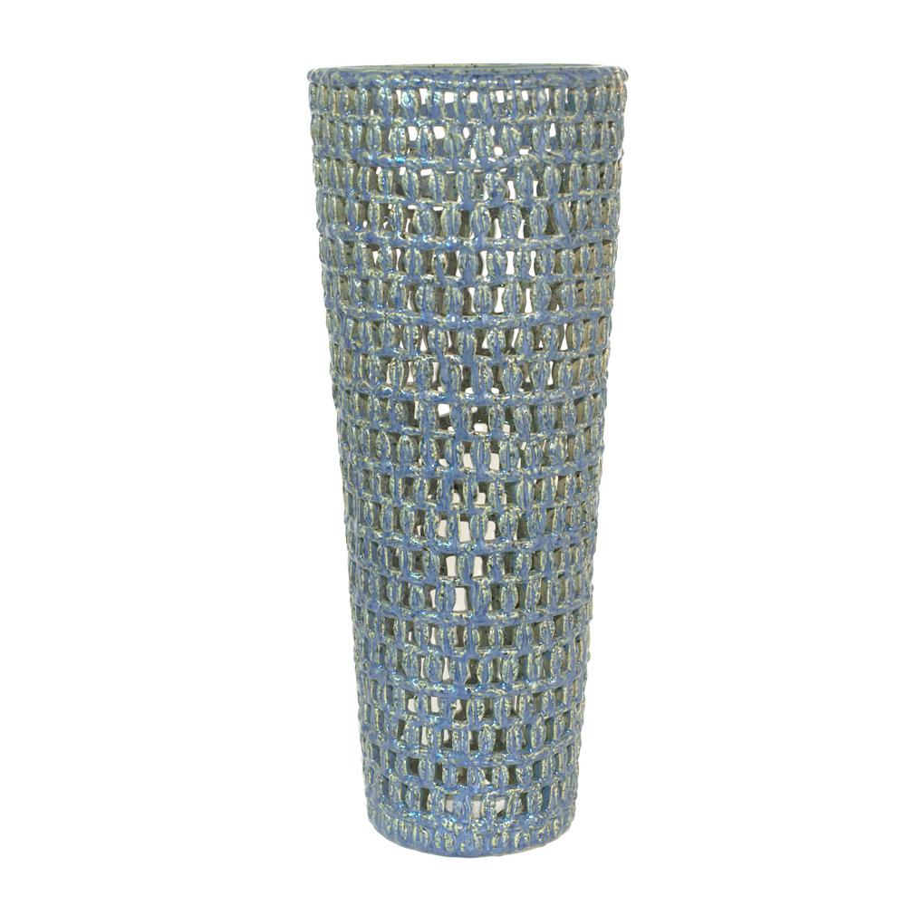 Decorative Pierced Blue Ceramic Vase with Glossy