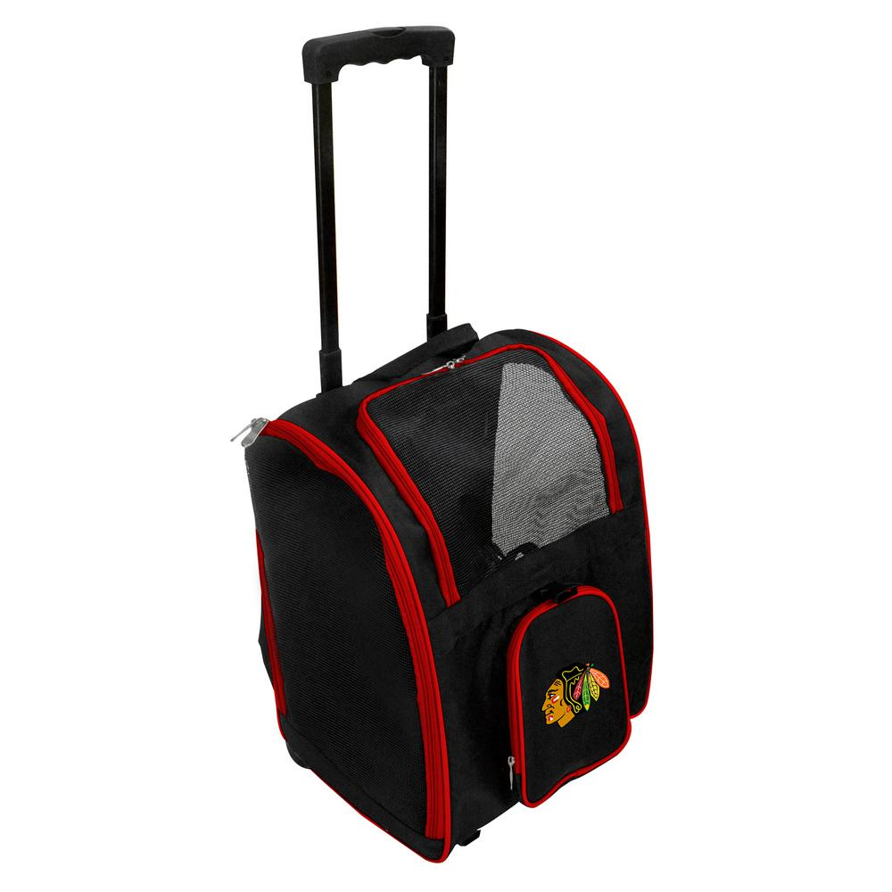 Denco Nhl Chicago Blackhawks Pet Carrier Premium Bag With Wheels In Red
