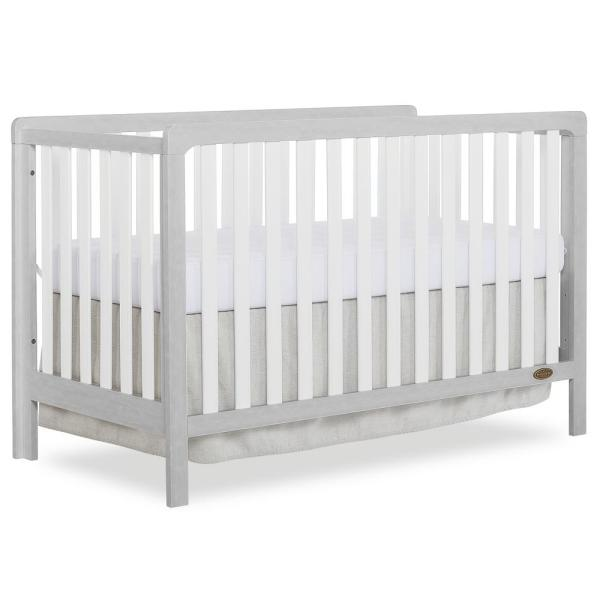 Ridgefield II White with Wire brushed Pebble Grey 5-in-1 Convertible Crib