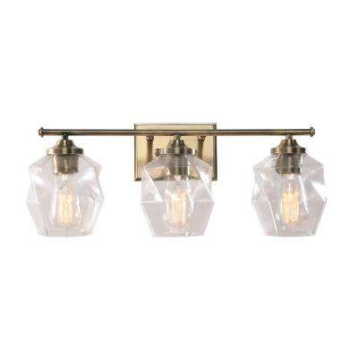 Ramona 22 in. 3-Light Antique Brass Vanity Light with Clear Glass Shades