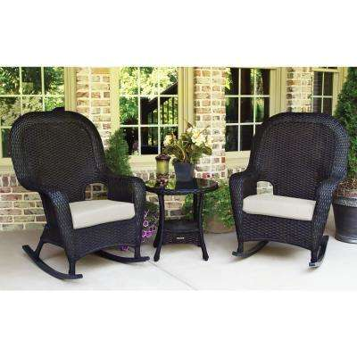 Sea Pines Tortoise 3-Piece Wicker Outdoor Rocking Chair Set with Sunbrella Canvas Canvas