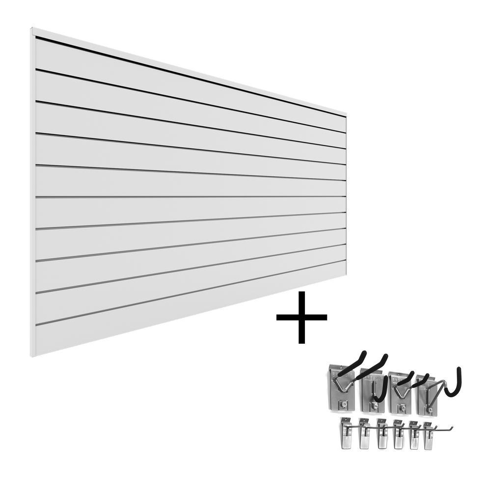 PVC Slatwall 8 ft. x 4 ft. White Mini Bundle (20-Piece)